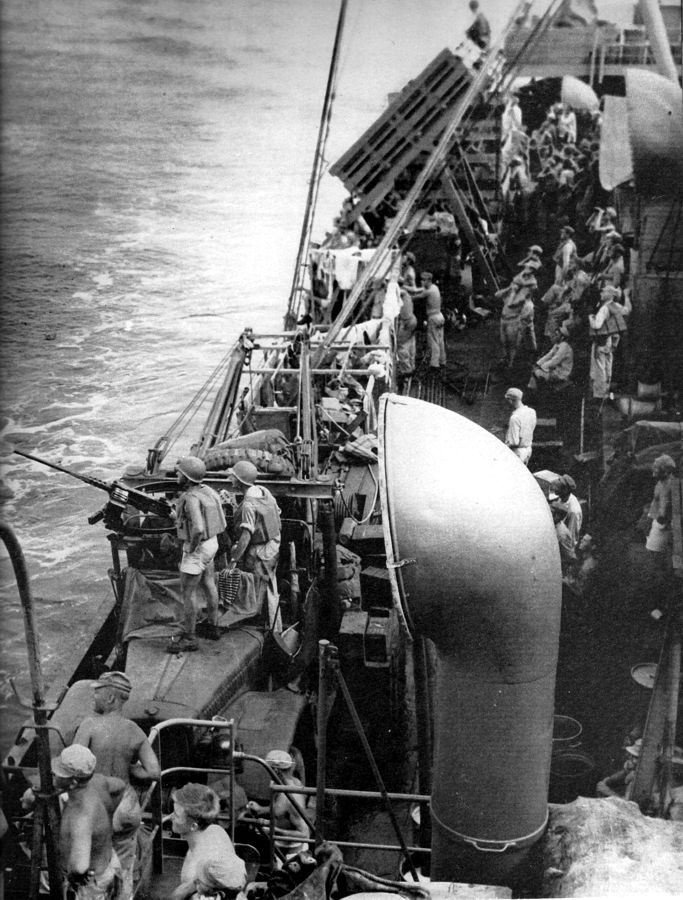 38th div aboard liberty manning 50 cals